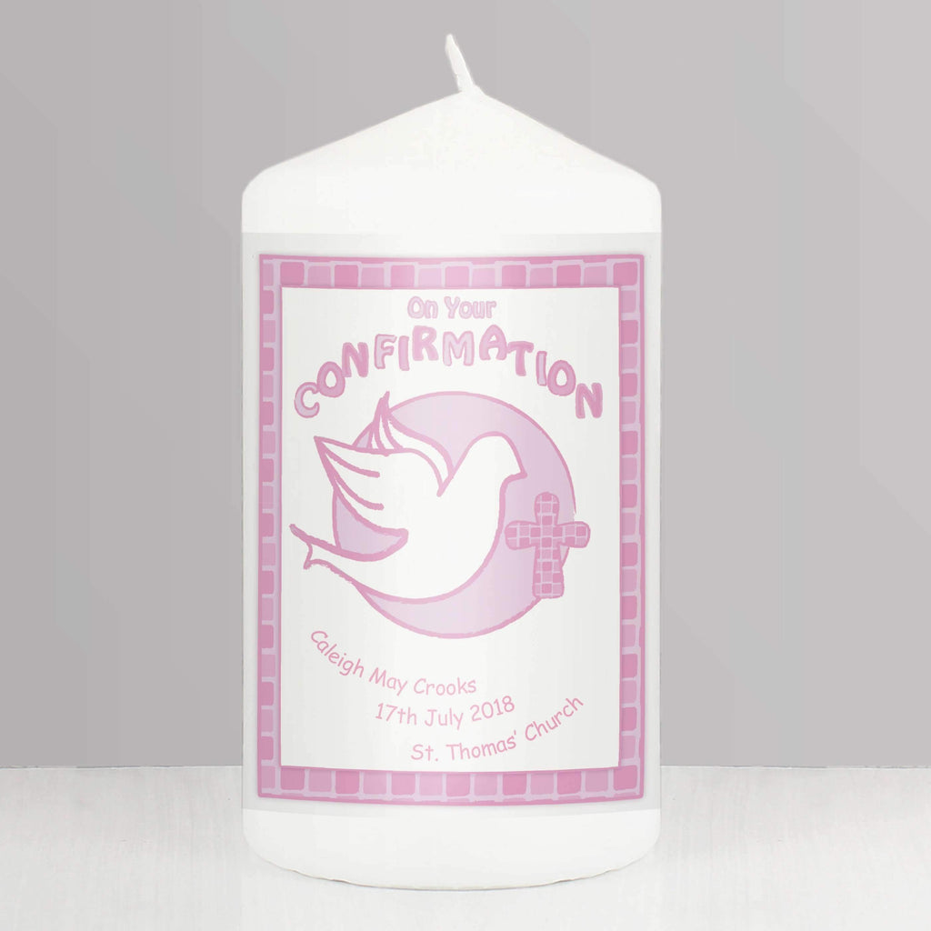 Personalised Confirmation Candle Pink