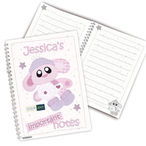 Personalised Cotton Zoo Bobbin the Bunny A5 Notebook