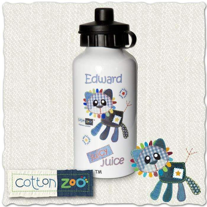 Personalised Cotton Zoo Boys Denim the Lion Drinks Bottle