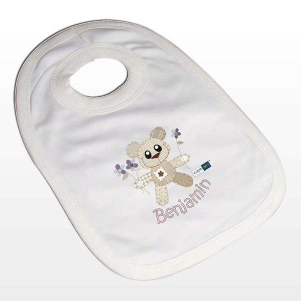 Personalised Cotton Zoo Boys Tweed the Bear Bib