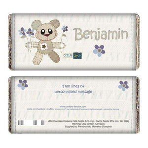 Personalised Cotton Zoo Boys Tweed the Bear Milk Chocolate Bar