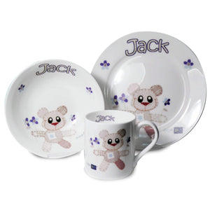 Personalised Cotton Zoo Breakfast Set - Tweed Boy