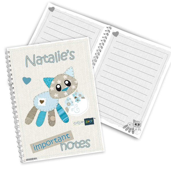 Personalised Cotton Zoo Calico the Kitten A5 Notebook