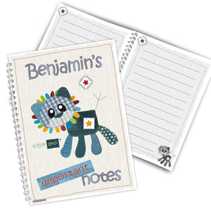 Personalised Cotton Zoo Denim the Lion A5 Notebook