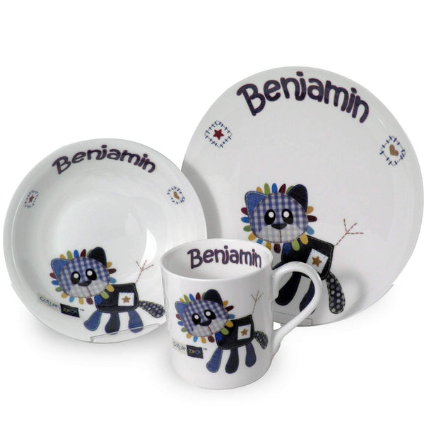 Personalised Cotton Zoo Denim the Lion Breakfast Set