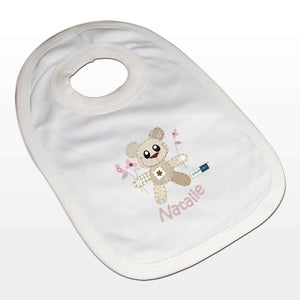 Personalised Cotton Zoo Girls Tweed the Bear Bib