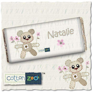 Personalised Cotton Zoo Girls Tweed the Bear Milk Chocolate Bar