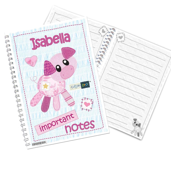 Personalised Cotton Zoo Organdie the Piglet A5 Notebook