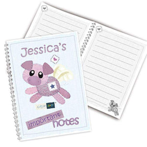 Personalised Cotton Zoo Organza the Pig A5 Notebook