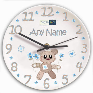 Personalised Cotton Zoo Tweed the Bear Boys Clock