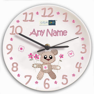 Personalised Cotton Zoo Tweed the Bear Girls Clock
