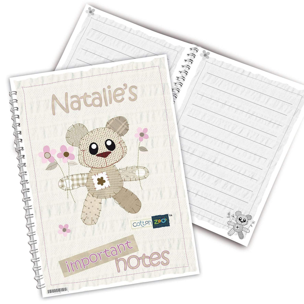 Personalised Cotton Zoo Tweed the Bear Pink A5 Notebook
