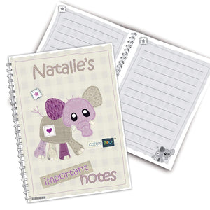 Personalised Cotton Zoo Wynciette the Elephant A5 Notebook