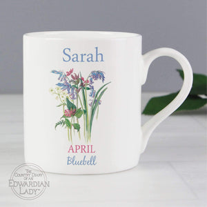 Personalised Country Diary 'April Flower Of The Month' Balmoral Mug