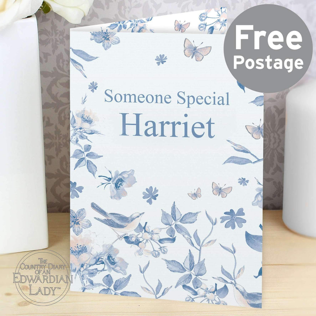 Personalised Country Diary Blue Blossom Card Memento