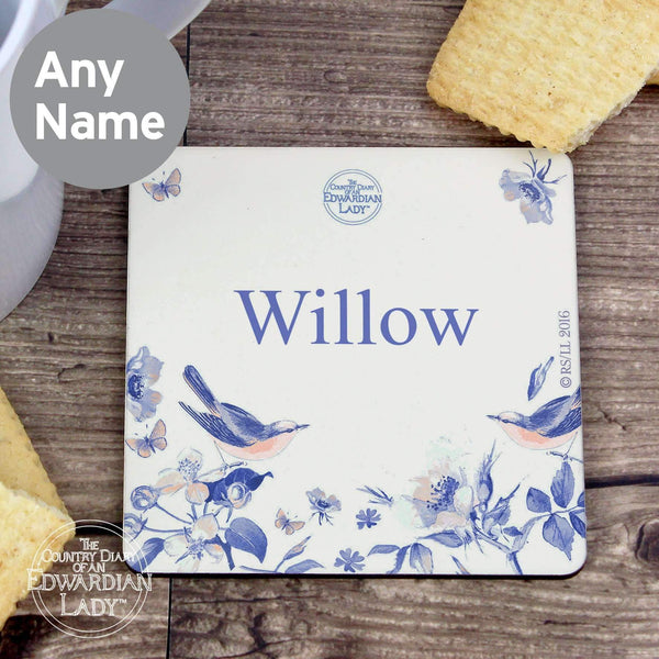 Personalised Country Diary Blue Blossom Coaster