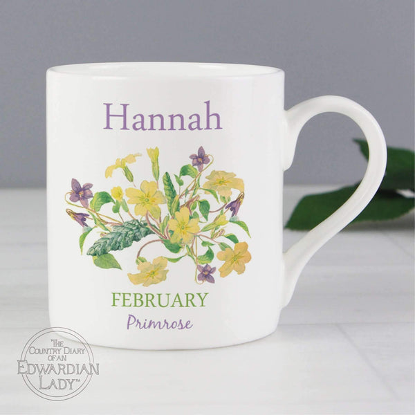 Personalised Country Diary 'February Flower Of The Month' Balmoral Mug