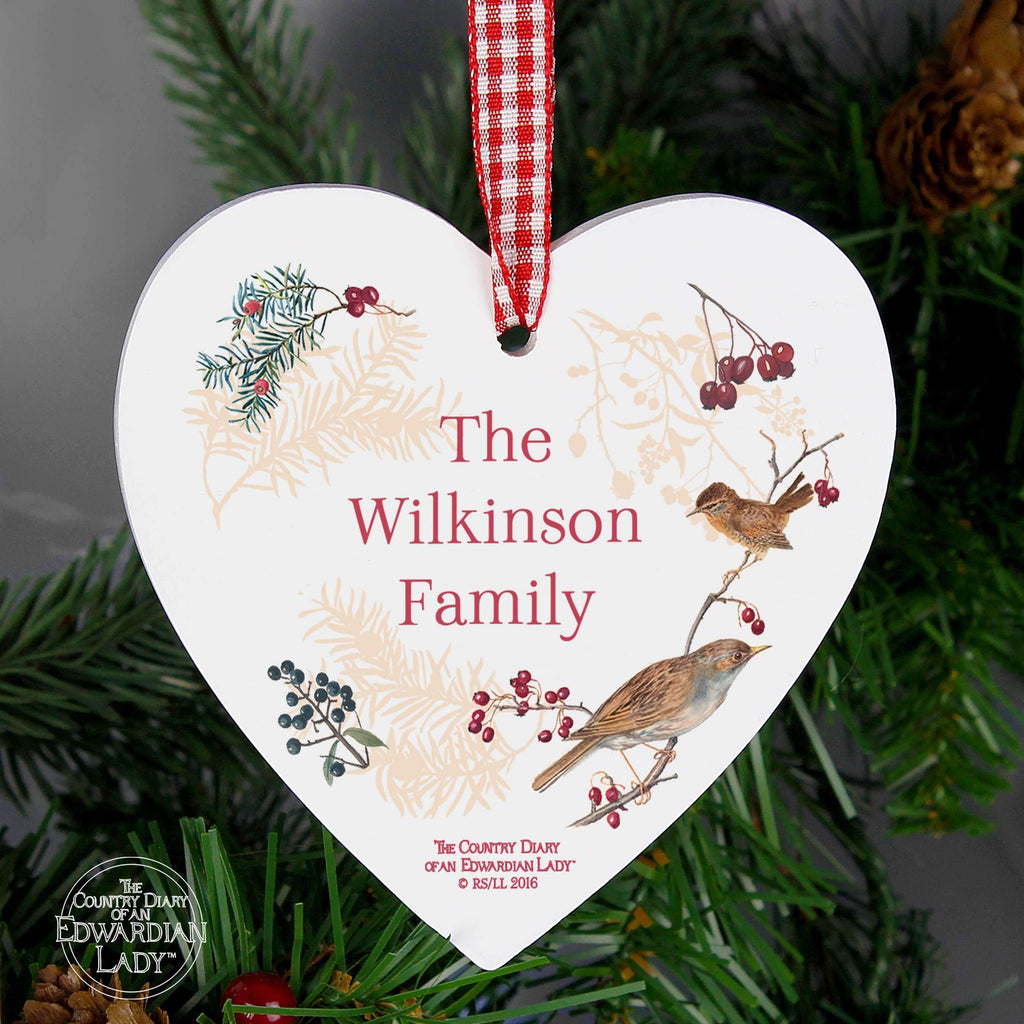 Personalised Country Diary Midwinter Wooden Heart Decoration Memento