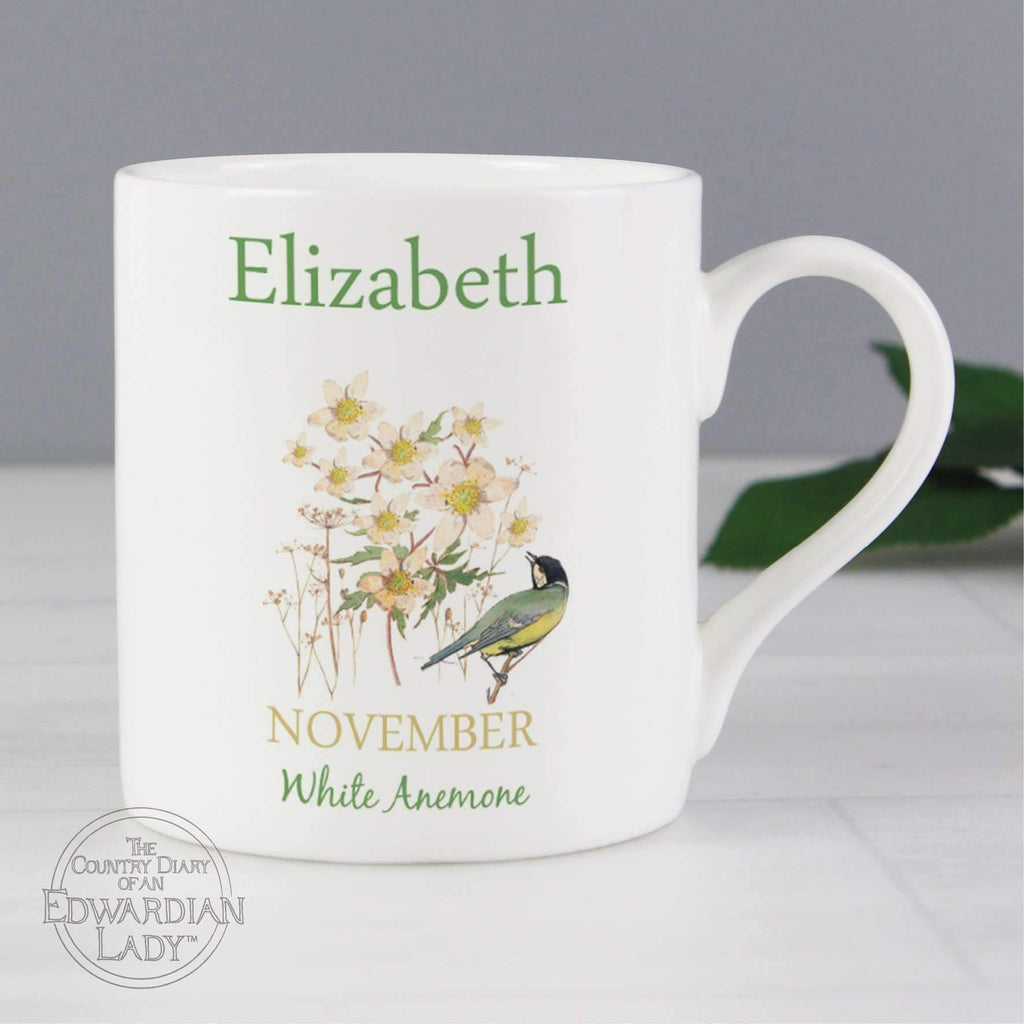 Personalised Country Diary 'November Flower Of The Month' Balmoral Mug Memento