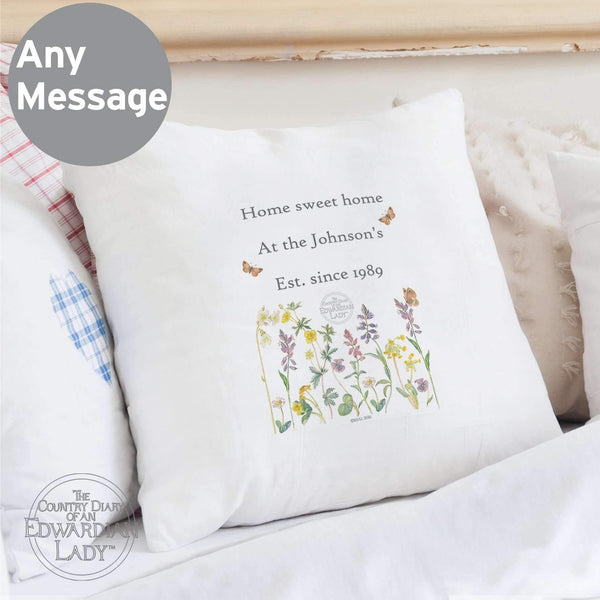 Personalised Country Diary Wild Flowers Cushion Cover