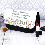 Personalised Country Diary Wild Flowers Make Up Bag Memento