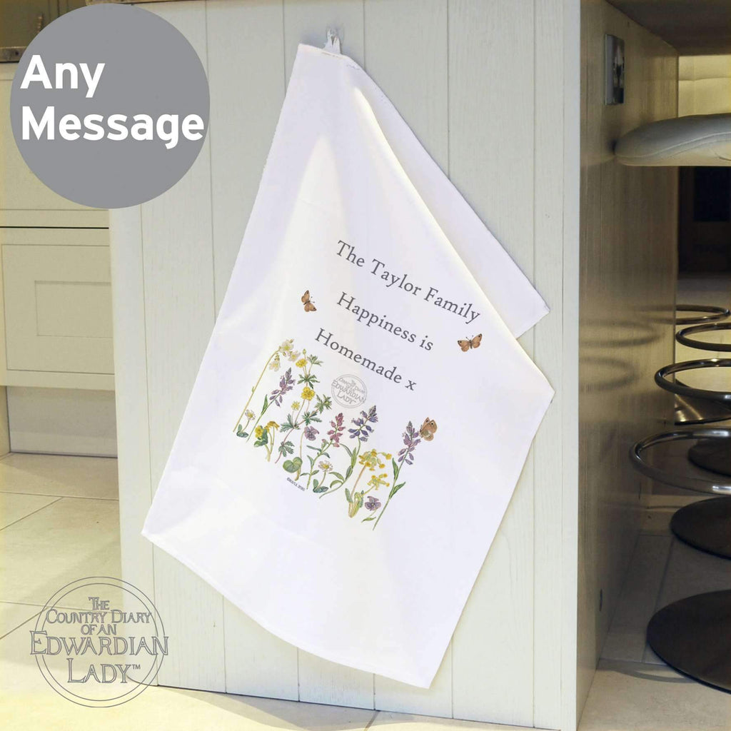 Personalised Country Diary Wild Flowers White Tea Towel Memento