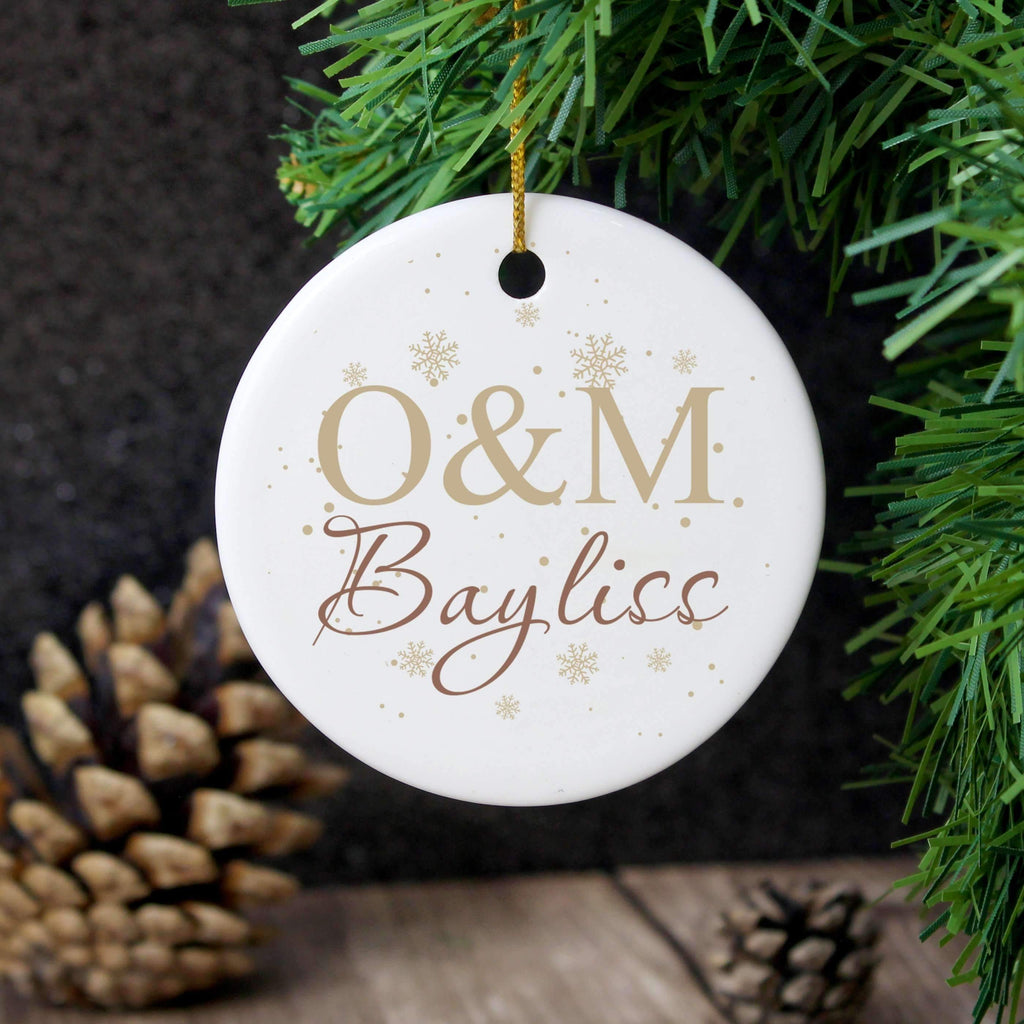 Personalised Couple's Gold Snowflake Round Decoration