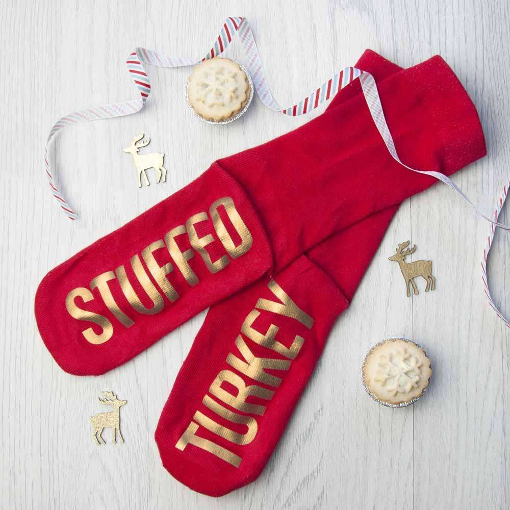 Personalised Crimson & Gold Christmas Day Socks Socks Treat