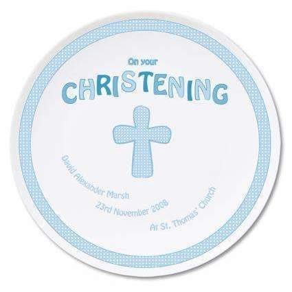 Personalised Cross Blue Christening Plate