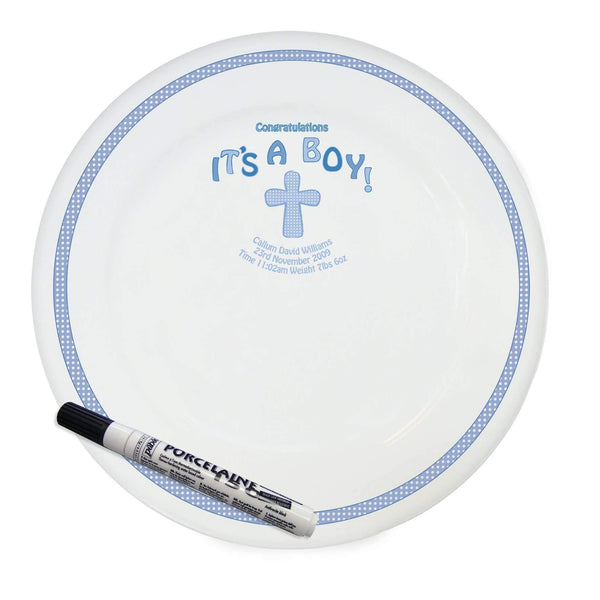 Personalised Cross It's a Boy Message Plate