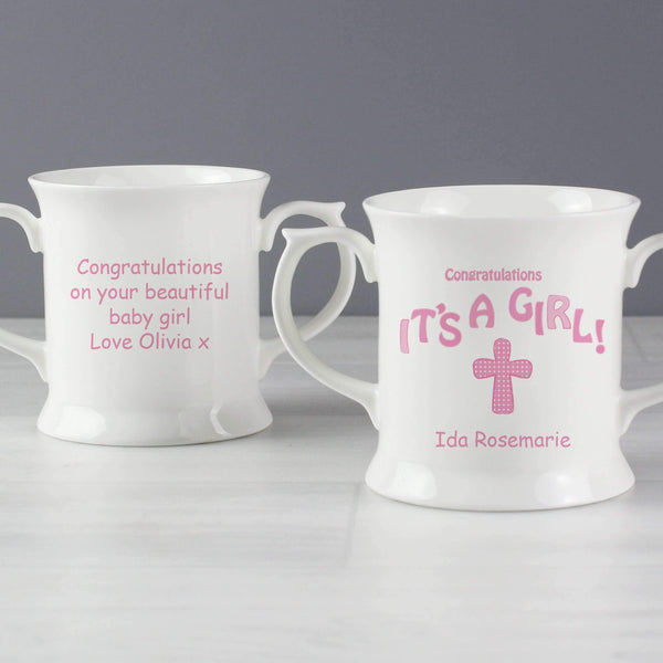 Personalised Cross It's a Girl Loving Mug