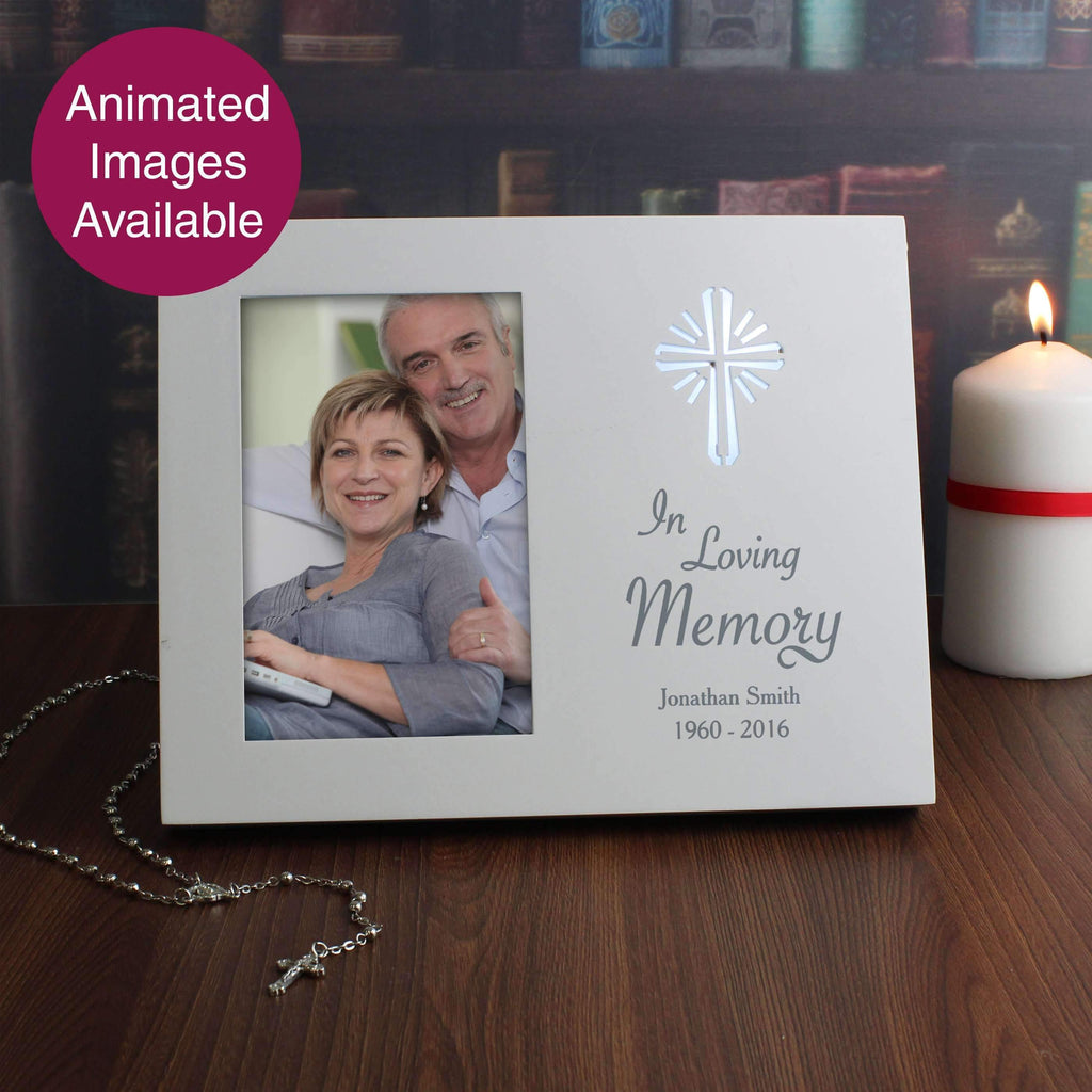 Personalised Cross Loving Memory 4x6 Light Up Frame Memento