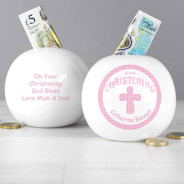 Personalised Cross Pink Christening Money Box