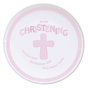 Personalised Cross Pink Christening Plate