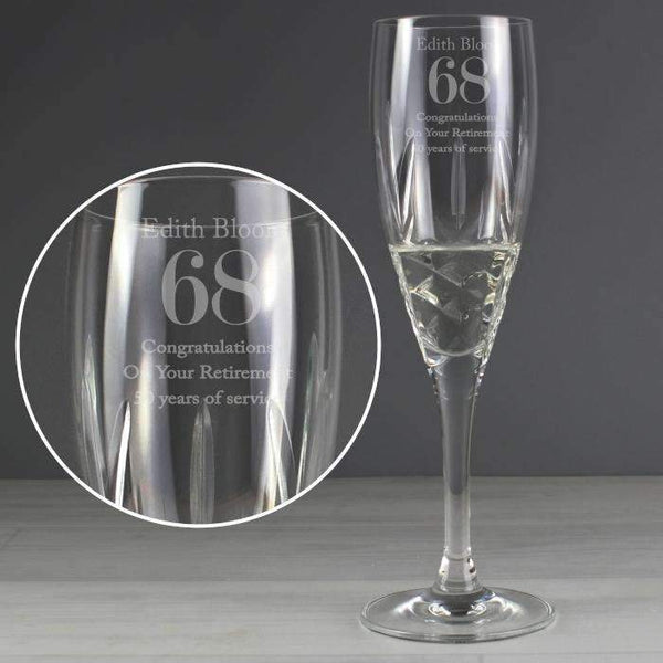 Personalised Crystal Cut Champagne Flute Big Age