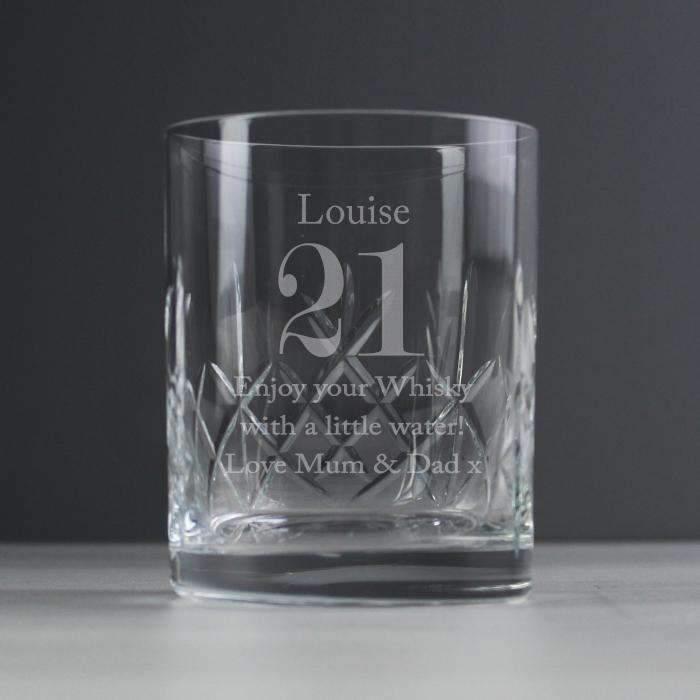 Personalised Crystal Cut Whisky Tumbler Big Age Glassware Memento