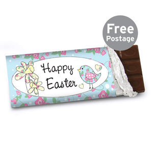 Personalised Daffodil & Floral Chick Easter Milk Chocolate Bar