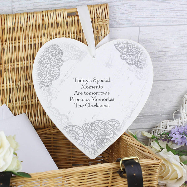 Personalised Dainty Lace Large Wooden Heart Decoration