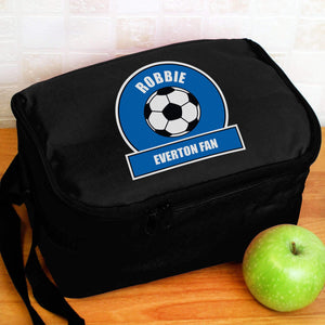 Personalised Dark Blue Football Fan Lunch Bag