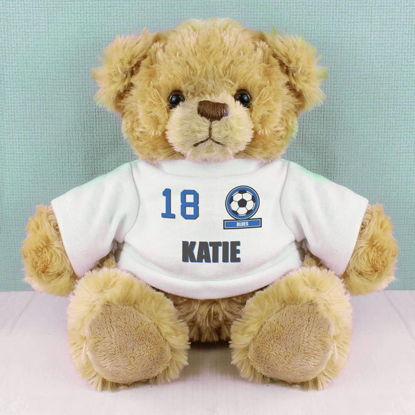Personalised Dark Blue Football Fan T-Shirt Message Bear