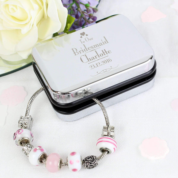 Personalised Decorative Wedding Bridesmaid Silver Box and Candy Pink 21cm Charm Bracelet