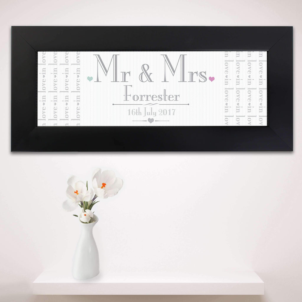 Personalised Decorative Wedding Mr Mrs Black Name Frame