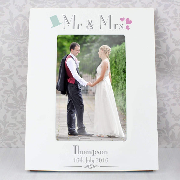 Personalised Decorative Wedding Mr & Mrs White 4x6 Photo Frame