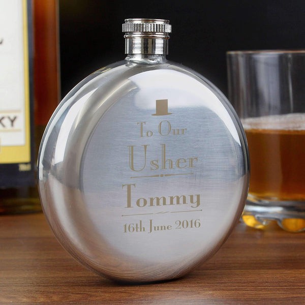 Personalised Decorative Wedding Usher Round Hip Flask