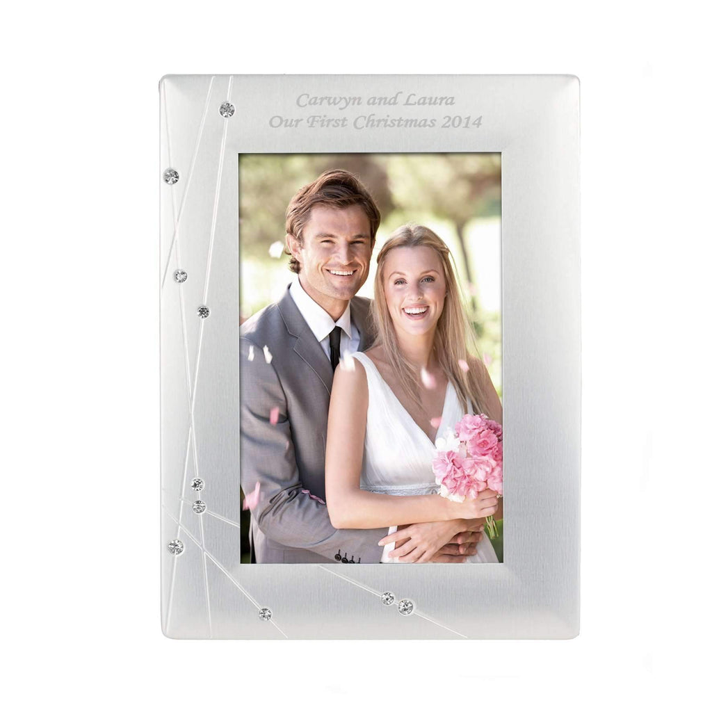 Personalised Diamante Swirl 4x6 Photo Frame