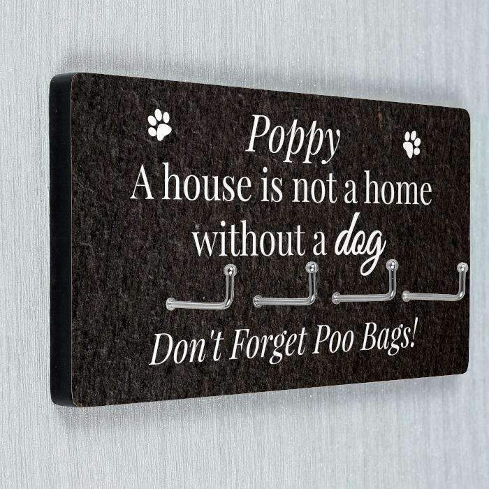 Personalised Dog Lead Hooks Sign Memento