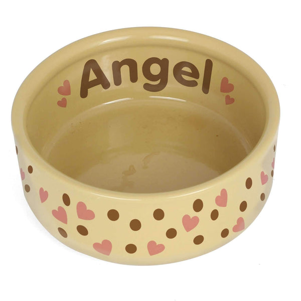 Personalised Dotty Heart Large Brown Pet Bowl