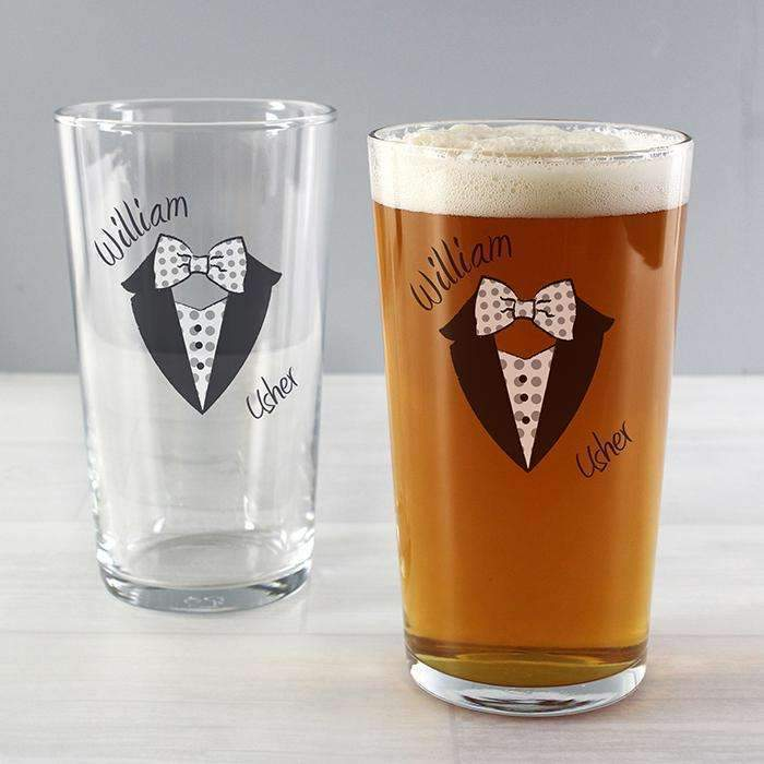 Personalised Dotty Wedding Male Pint Glass