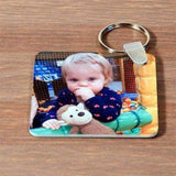 Personalised Double Sided Square Photo Plastic Keyring