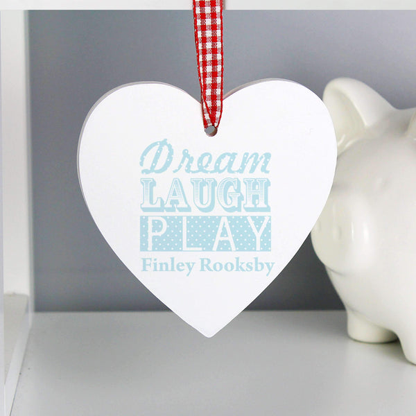 Personalised Dream Blue Wooden Heart Decoration